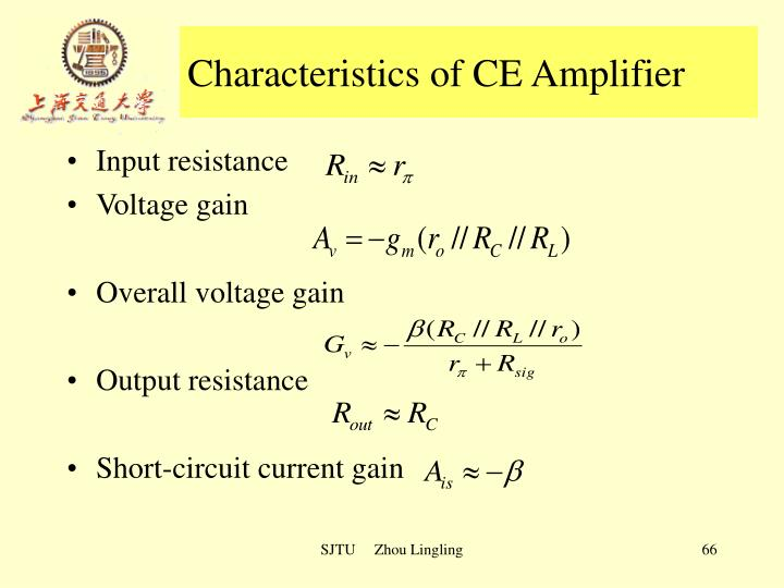Characteristics of CE Amplifier