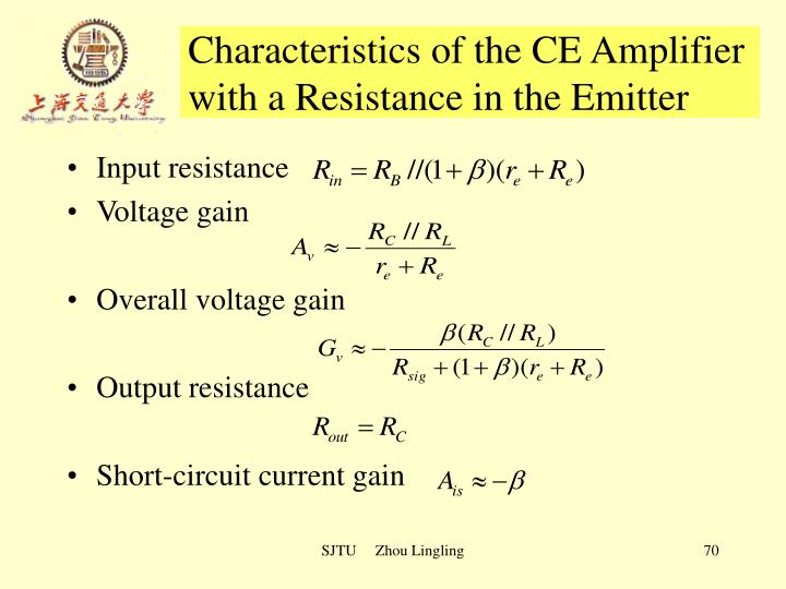 Characteristics of the CE Amplifier with a Resistance in the Emitter