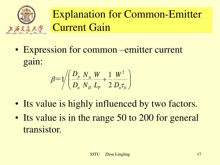 Explanation for Common-Emitter Current Gain