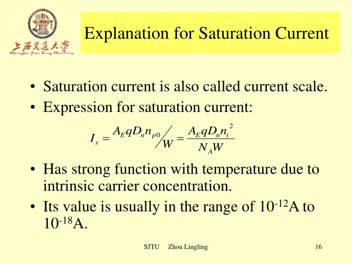 Explanation for Saturation Current
