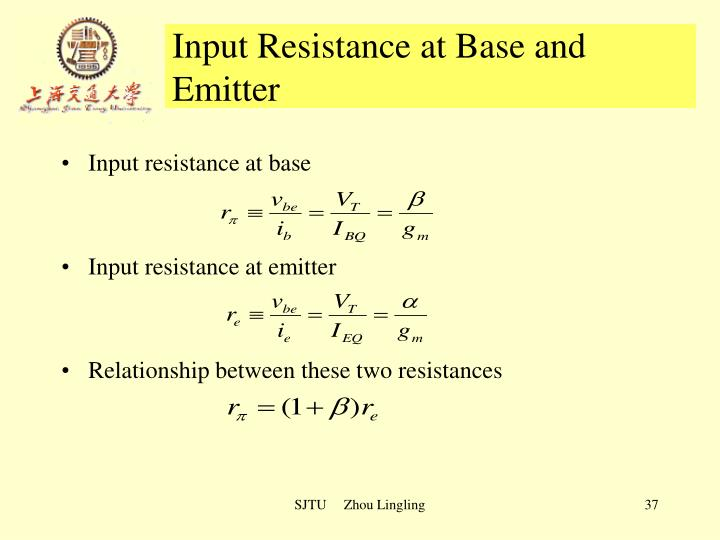 Input Resistance at Base and Emitter