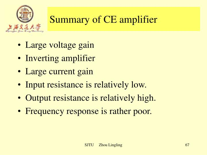 Summary of CE amplifier