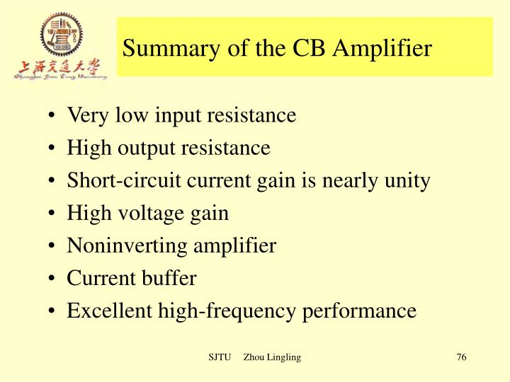 Summary of the CB Amplifier