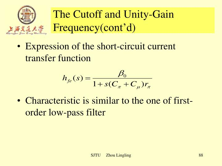 The Cutoff and Unity-Gain Frequency(