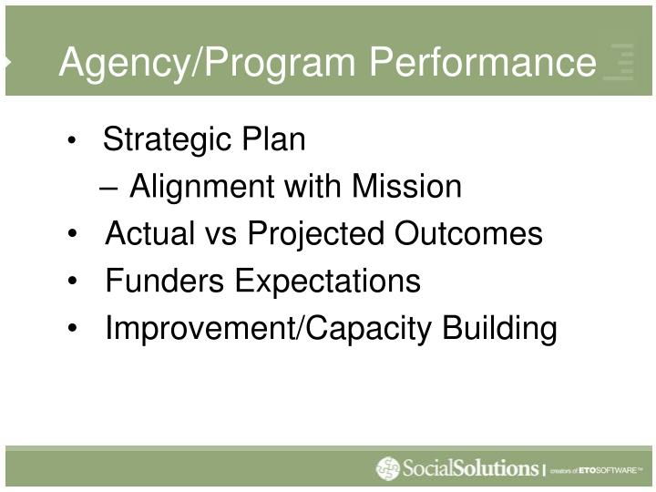 Agency/Program Performance