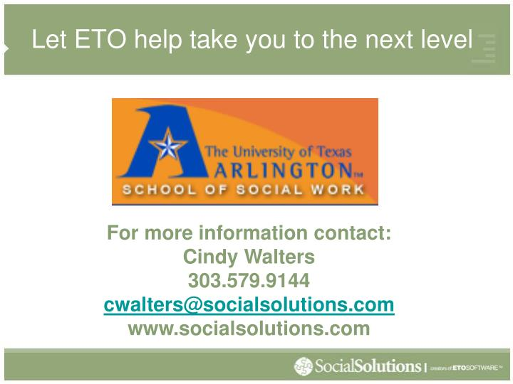 Let ETO help take you to the next level