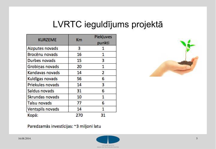 LVRTC ieguldījums projektā