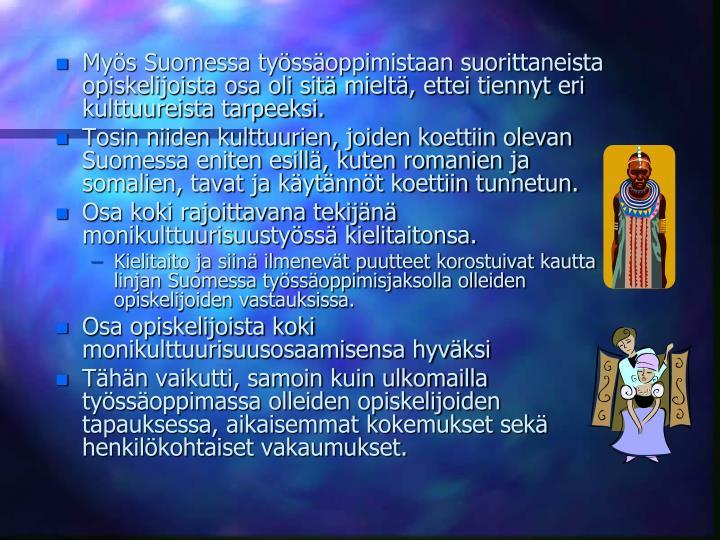 Mys Suomessa tyssoppimistaan suorittaneista opiskelijoista osa oli sit mielt, ettei tiennyt eri kulttuureista tarpeeksi.
