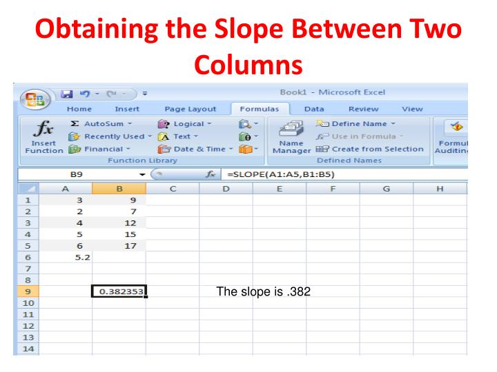Obtaining the Slope Between Two Columns