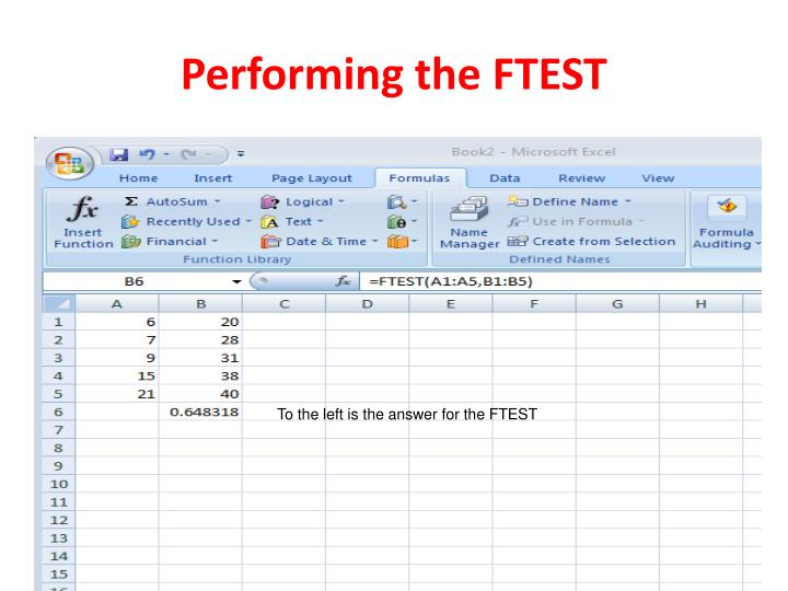 Performing the FTEST