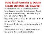 using excel formulas to obtain simple statistics chi squared