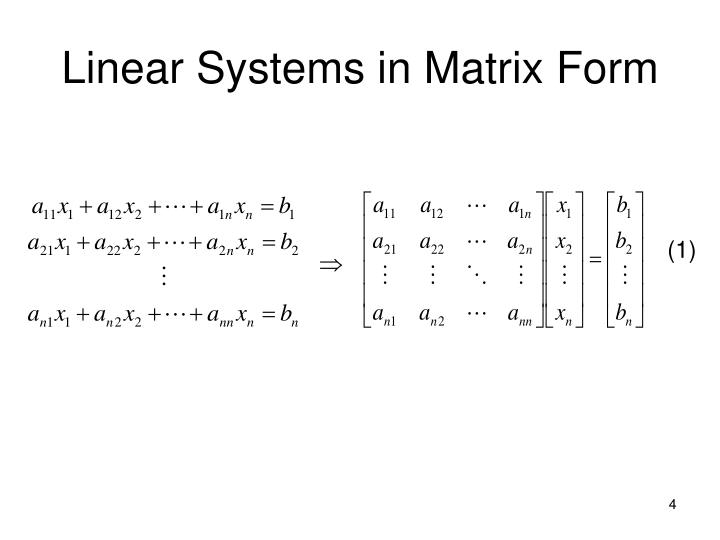 Linear Systems in Matrix Form
