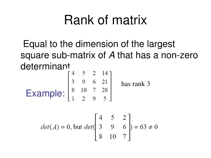Rank of matrix