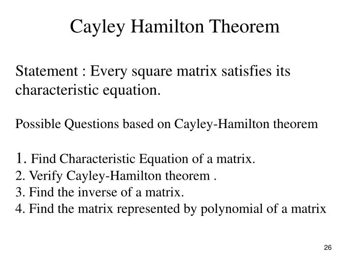 Cayley Hamilton Theorem
