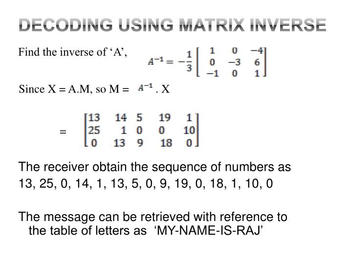 Decoding using Matrix INVERSE