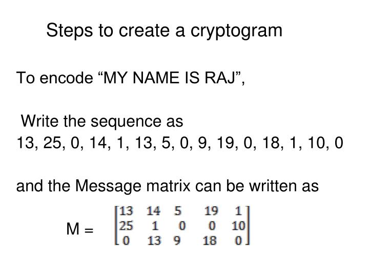Steps to create a cryptogram