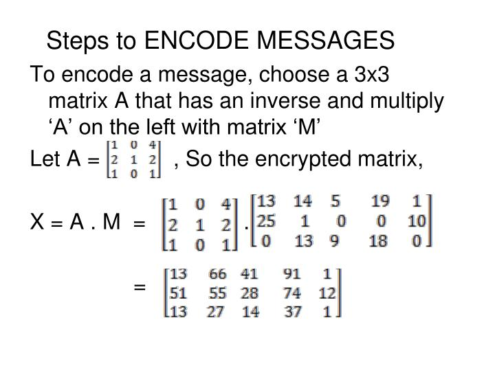 Steps to ENCODE MESSAGES