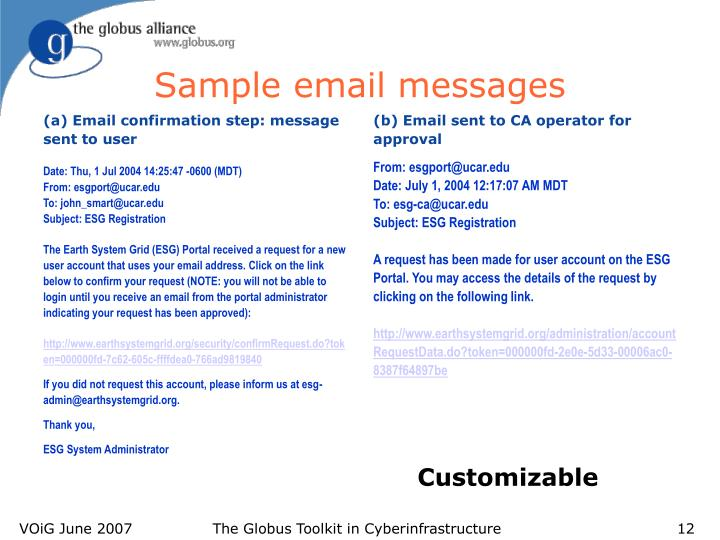 Sample email messages