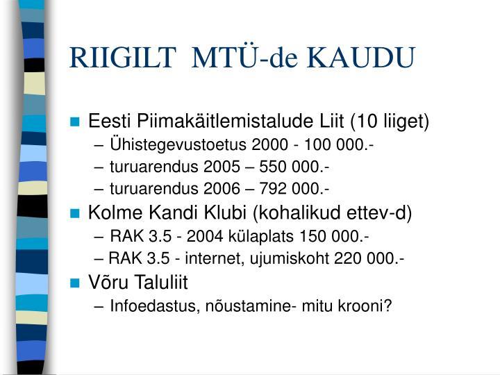 RIIGILT  MTÜ-de KAUDU