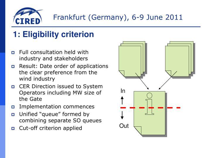 1: Eligibility criterion