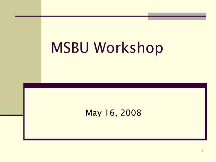 MSBU Workshop