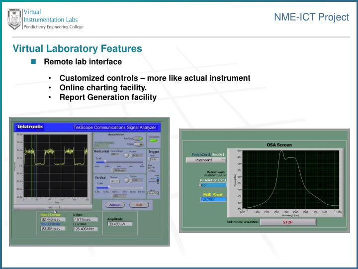 Virtual Laboratory Features