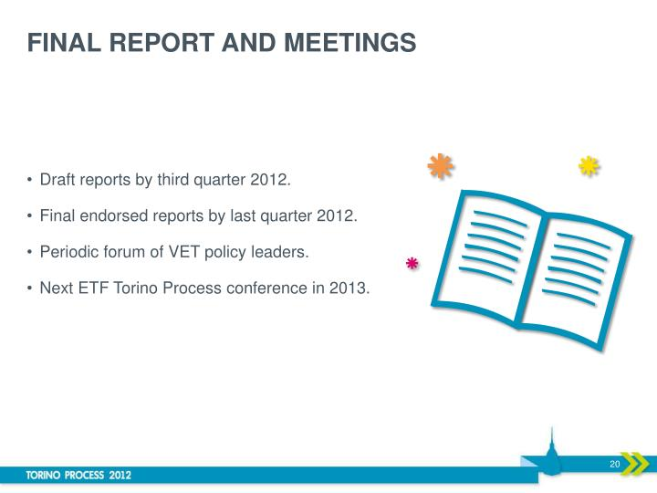 FINAL REPORT AND MEETINGS