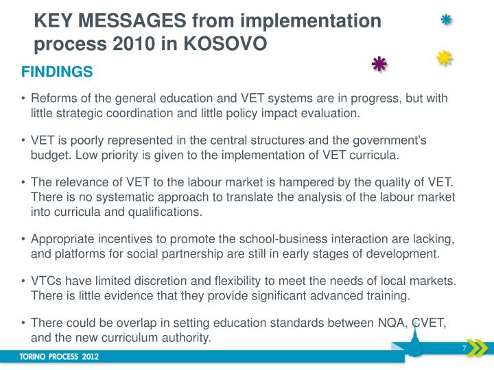 KEY MESSAGES from implementation process 2010 in KOSOVO