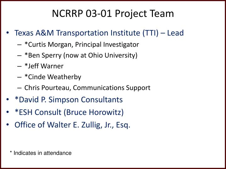 NCRRP 03-01 Project Team