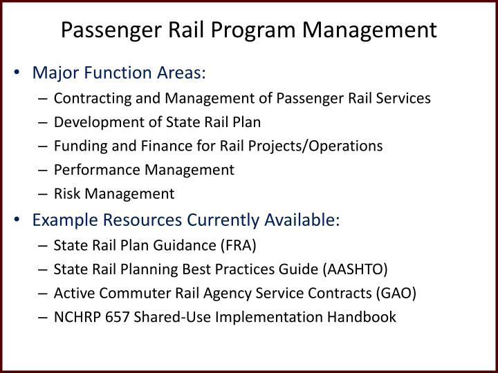 Passenger Rail Program Management