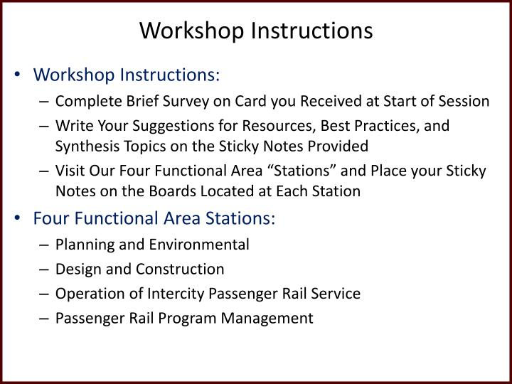 Workshop Instructions