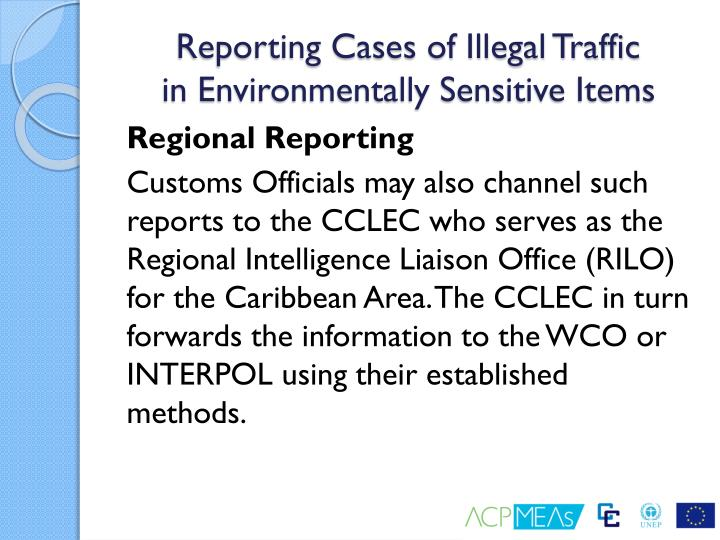 Reporting Cases of Illegal Traffic