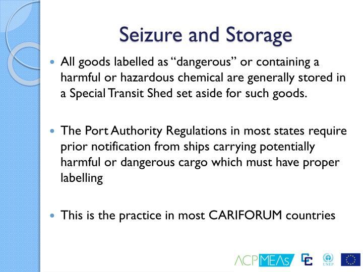 Seizure and Storage