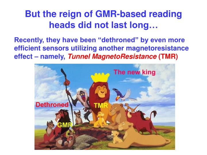 But the reign of GMR-based reading heads did not last long…