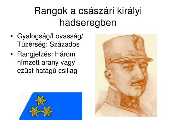 Rangok a császári királyi hadseregben