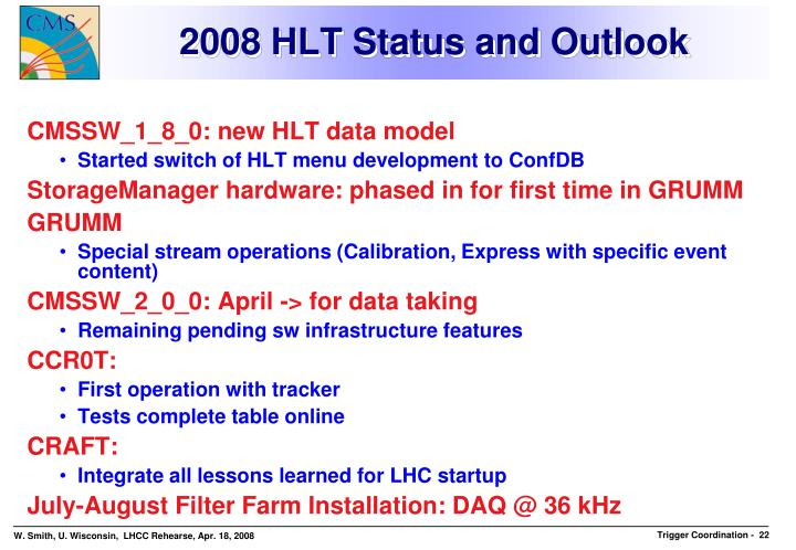 2008 HLT Status and Outlook