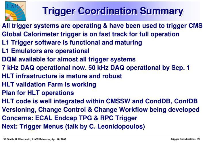 Trigger Coordination Summary