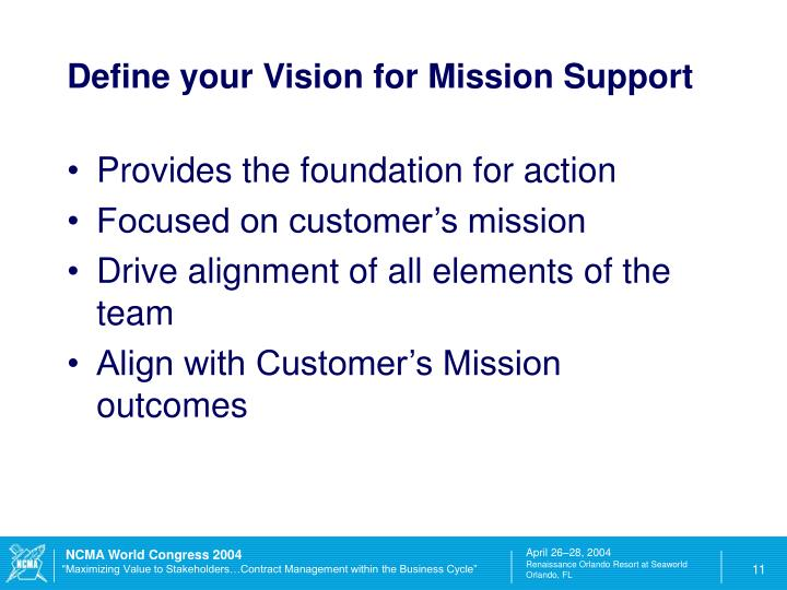Define your Vision for Mission Support