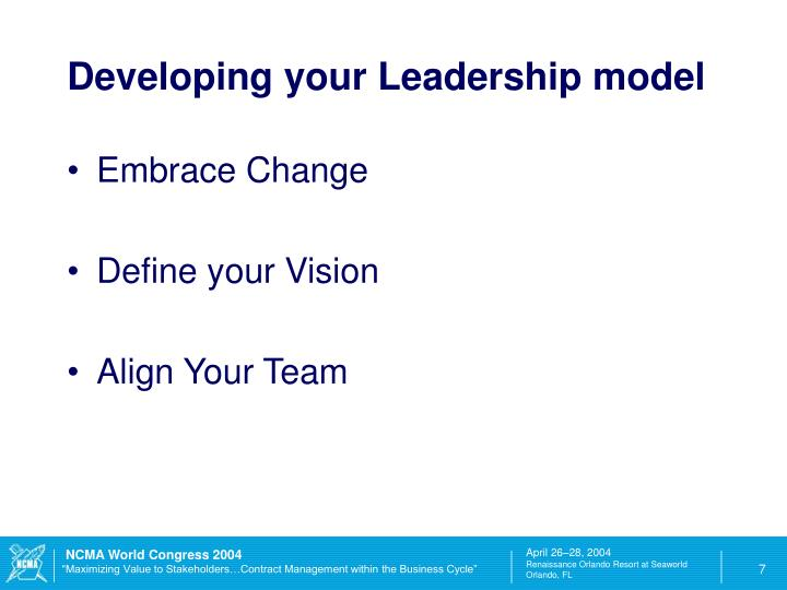 Developing your Leadership model
