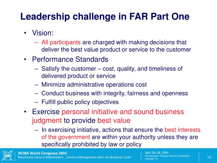 Leadership challenge in FAR Part One