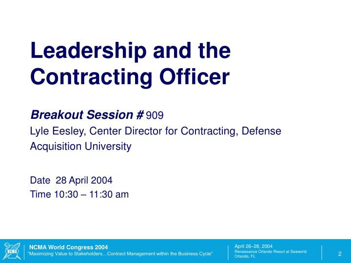Leadership and the Contracting Officer