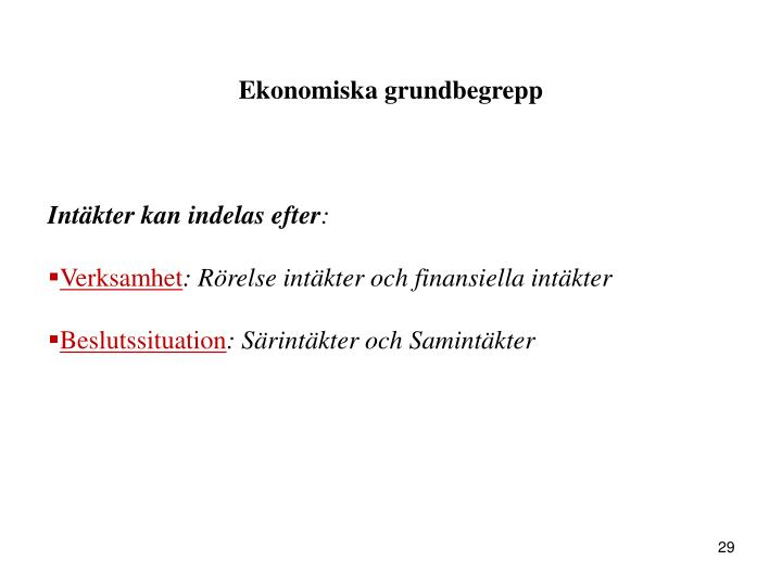 Ekonomiska grundbegrepp