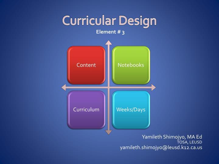 Curricular Design