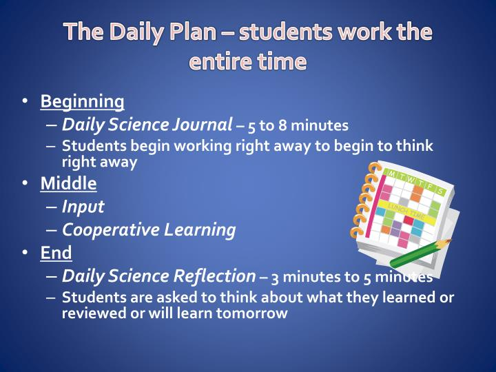 The Daily Plan – students work the entire time