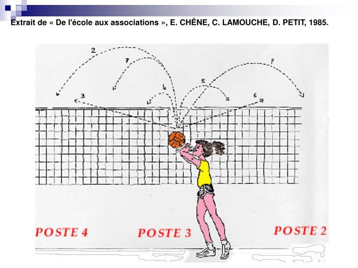 Extrait de «De l'école aux associations», E. CHÊNE, C. LAMOUCHE, D. PETIT, 1985.