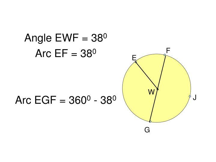 Angle EWF = 38