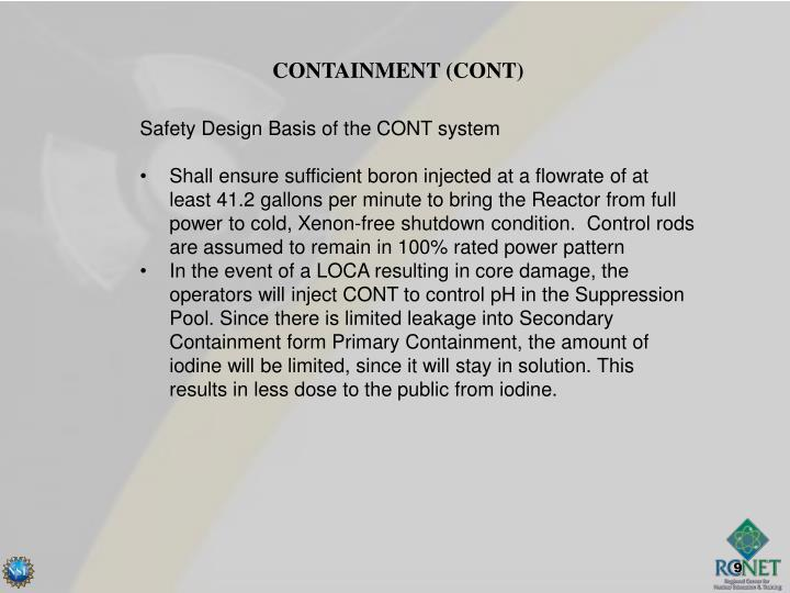 CONTAINMENT (CONT)