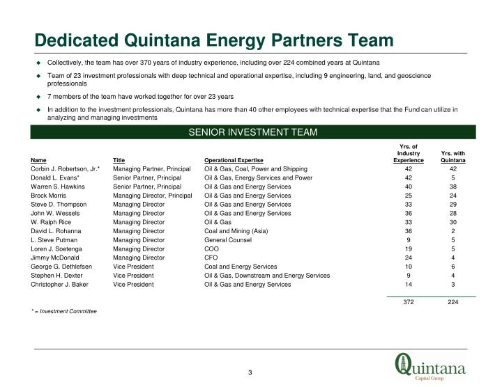 Dedicated Quintana Energy Partners Team