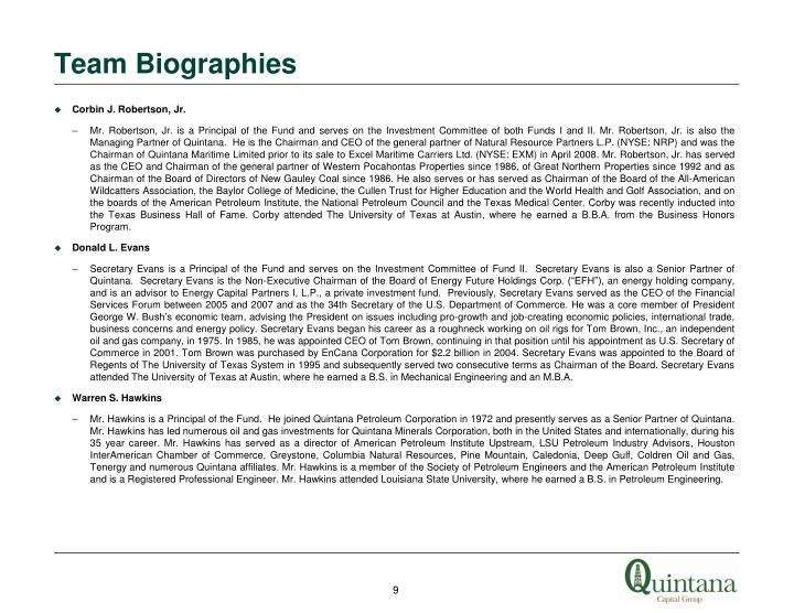 Team Biographies