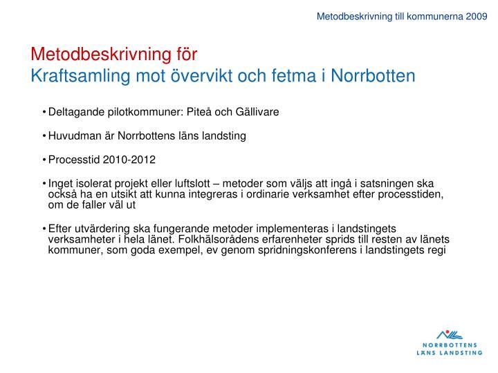 Metodbeskrivning till kommunerna 2009